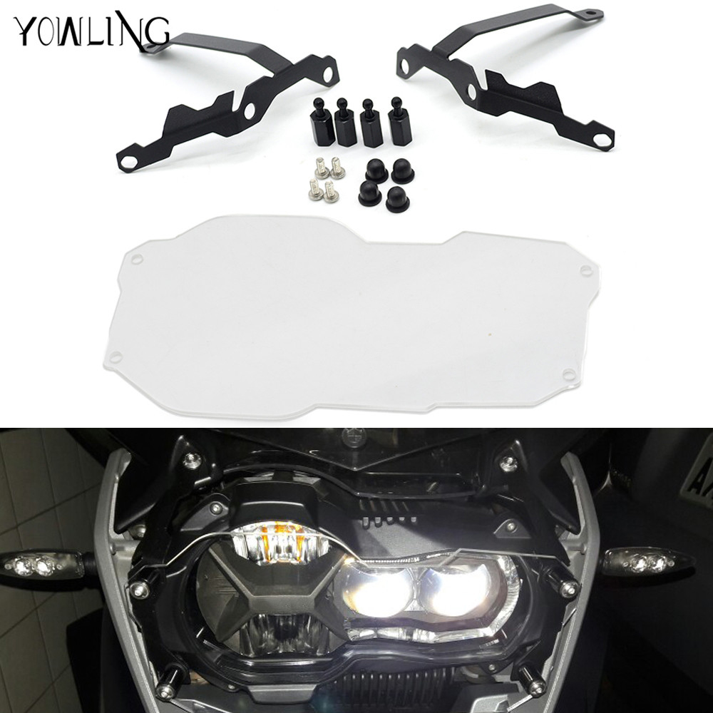 Motorcycle Accessories Headlight Bracket Guard Grid Grille Lense Cover Protector For BMW R1200GS R 1200 GS Adventure 2013 - 2018