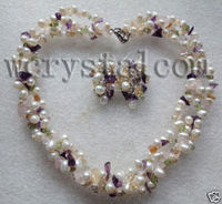 White Pearls Earrings Necklace real natural freshwater pearl necklaces Semi precious Stone Sets