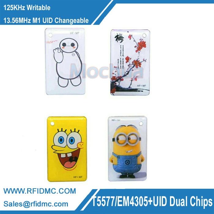 5pcs 125KHZ T5577 EM4305+13.56MHZ M1 UID Changeable Dual Chip RFID Tag 5pcs ic id uid 13 56mhz changeable writable rewritable composite key tags keyfob dual chip frequency rfid 125khz t5577 em4305