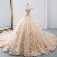 Wedding-Dresses Beading Bridal-Gown Sparkly Vintage Plus-Size Luxury Tulle A-Line Pearls