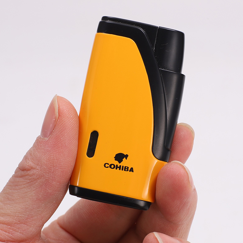 COHIBA Gadgets Windproof Batane Gas 2 Torch Jet Flame Cigarette Cigar Lighter With Cigar Punch Cutter without Gift Box
