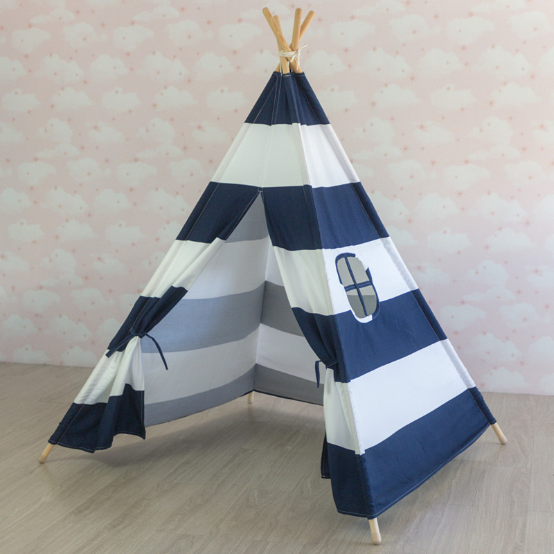 Navy Blue Teepee Play Tent Indian Teepee Tipi Tent Princess Tent Playhouse Tipi Zelt yard indian pattern children toy tent teepees safety tipi portable playhouse kids teepee tents