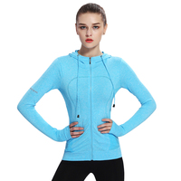 Women Yoga Jacket Long Sleeve Hooded Zipper Coat Quick Drying Comfortable Sport Running Slim Fitness Workout