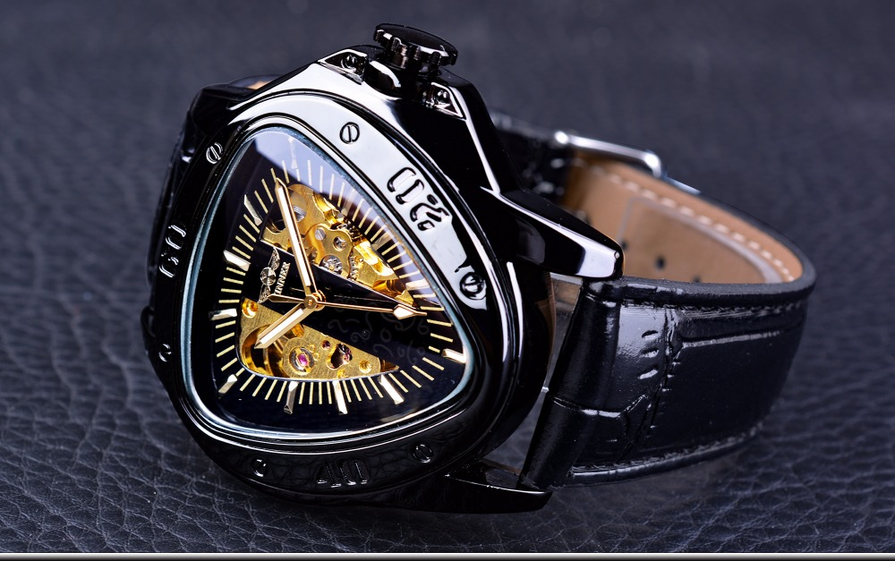HTB1XzFSh26H8KJjy0Fjq6yXepXaC Winner Steampunk Fashion Triangle Golden Skeleton Movement Mysterious Men Automatic Mechanical Wrist Watches Top Brand Luxury