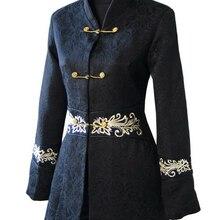 Новинка, Casacos Femininos, китайское Женское зимнее хлопковое пальто, длинная приталенная куртка, пальто на пуговицах, костюм Танг, размер S до XXXL 2255