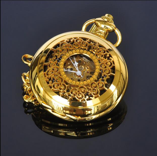 Posh Luxury Men Women Mechanical Pocket Watches Hollow Case Arabic Numeral Skeleton Dial