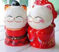 2 pcs/ensemble de mariage chanceux chat bonbons boîtes en céramique Chanceux Chat La mariage cadeau emballage de bonbons parti décorations