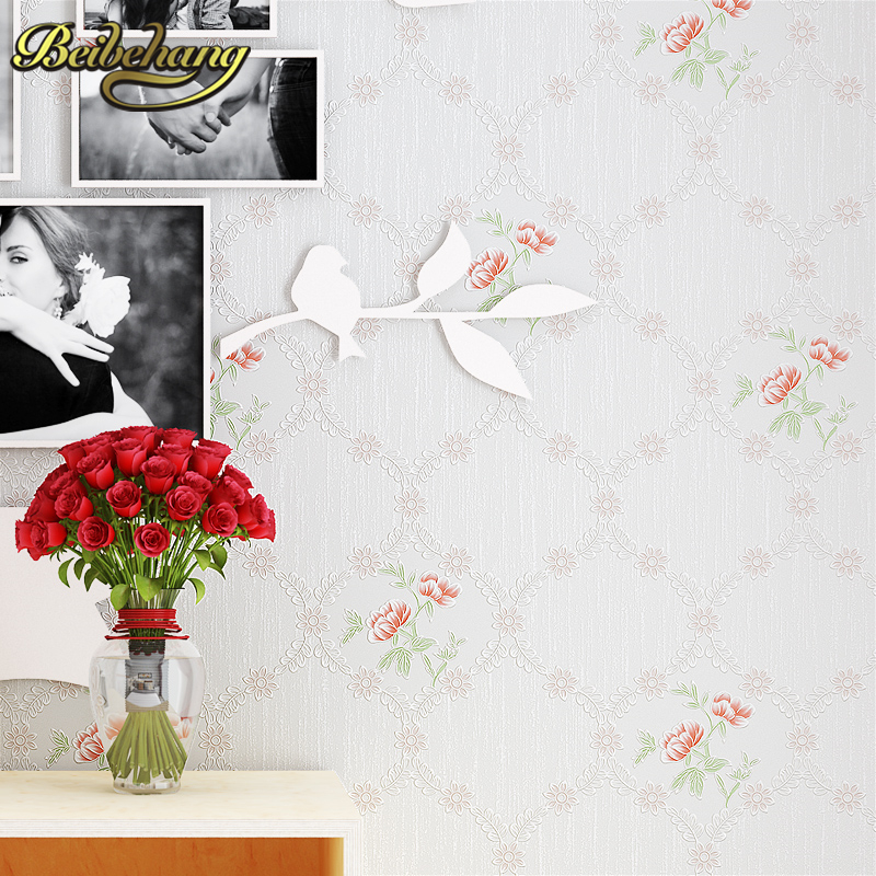 beibehang papel de parede 3D Pastoral flowers wall paper roll wallpaper for living room bedroom TV background 3d wall murals beibehang papel de parede retro classic apple tree bird wallpaper bedroom living room background non woven pastoral wall paper
