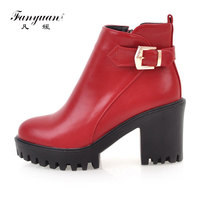 Fanyuan 2018 PU Leather Boots Soft Leather Women Ankle Boots Thick High Heel Boots Sexy Women Platform Boots Autumn And Spring