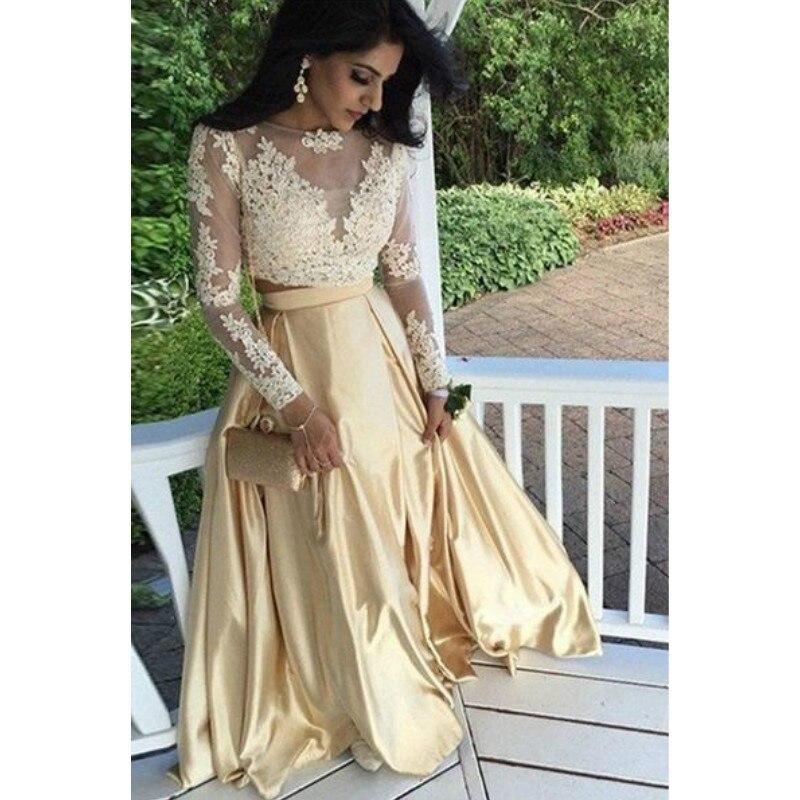 Long Sleeves Gold Satin 2 Pieces Prom Dresses 2017 Evening Gowns Vestidos De Baile