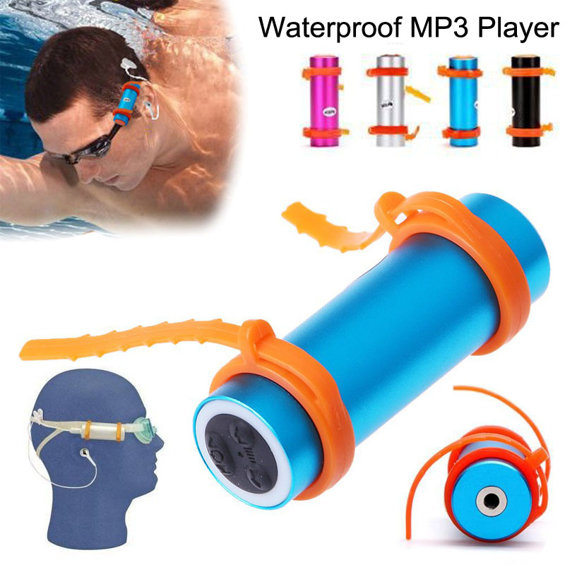 IPX8 Waterproof MP3 Player Built in 4GB Swimming Diving Sports Mp3 Player with FM Radio Headphones