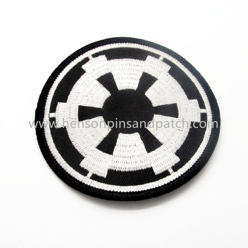 Custom high quality embroidery patches black and white patch Galactic Empire patches