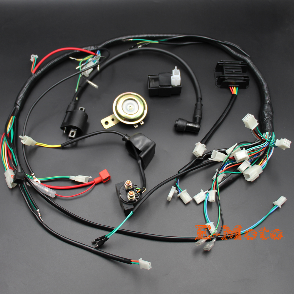 zongshen loncin lifan 150 200cc 250cc atv gy6 quad full electric parts wire harness loom solenoid [ 1000 x 1000 Pixel ]