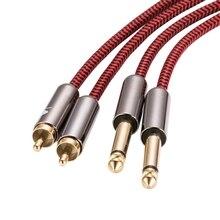 """ايفي كابل الصوت المزدوج 6.35 مللي متر إلى ثنائي RCA ل وحدة خلاط مكبر للصوت 2 * RCA إلى 2*1/4 """"جاك كابل محمي 1M 2M 3M 5M 8M 10M 15M"""