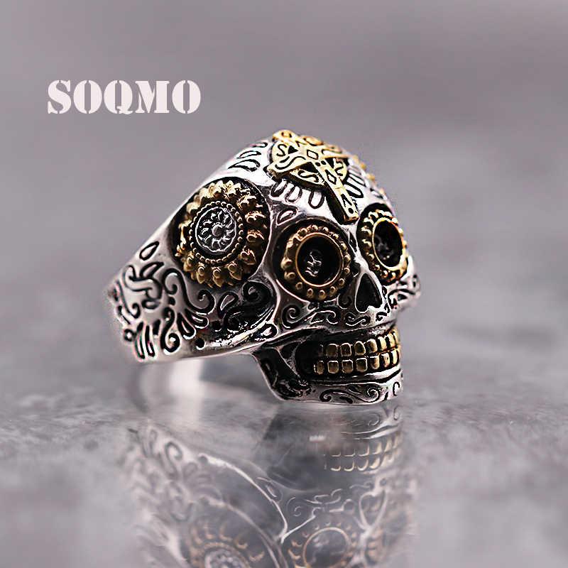 e6ce872b1e SOQMO Luxury Solid 925 Sterling Silver Skull Ring Men Vintage Punk Rock  Cross Gold Big Heavy