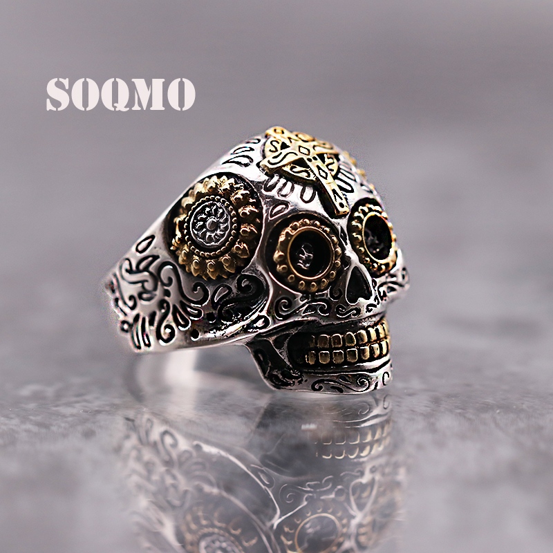 SOQMO Luxury Solid 925 Sterling Silver Skull Ring Men Vintage Punk Rock Cross Gold Big Heavy Mens Gothic Rings SQM107