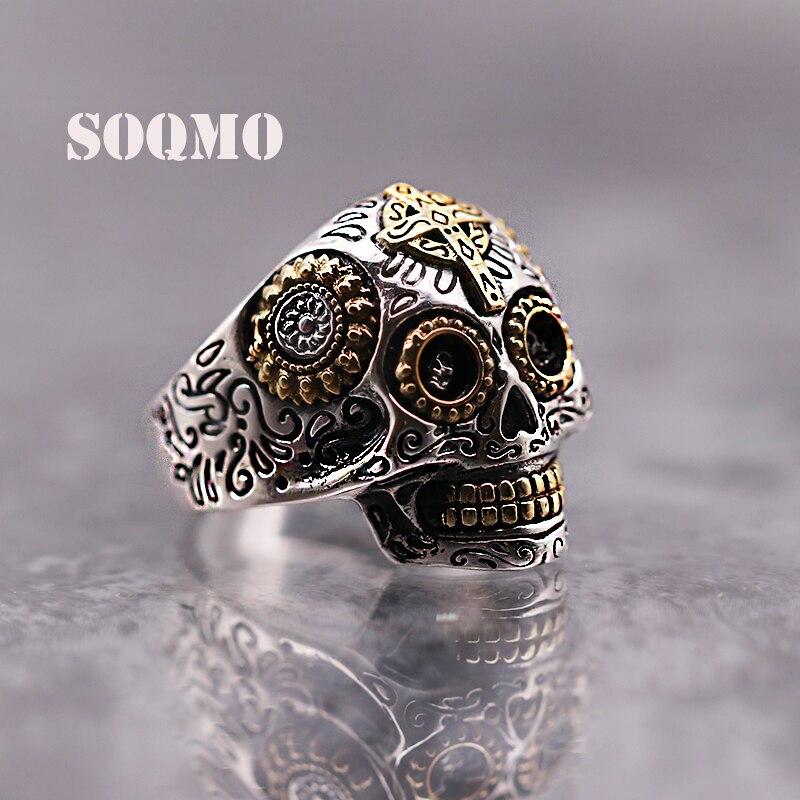 SOQMO luxe solide 925 en argent Sterling crâne anneau hommes Vintage Punk Rock croix or grand lourd hommes gothiques anneaux SQM107