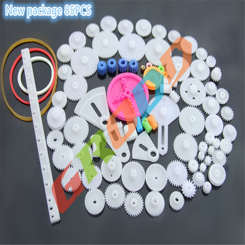 New package of plastic gear package DIY science and technology model making fan gear, rack,worm, pulley, belt gear box toy cars 85pcs k841 85 plastic gears pack without repetition diy technology model making free shipping russia