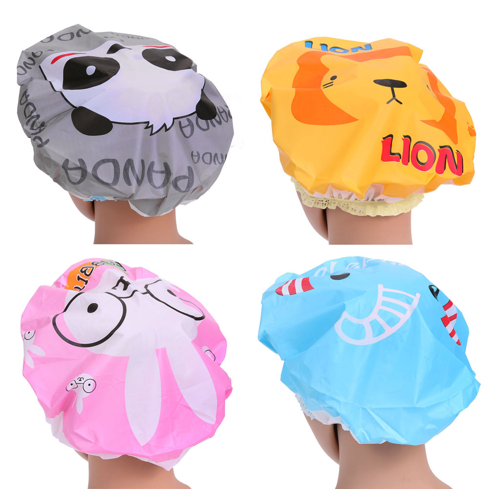 4pcs/lot Lovely Cartoon Women Shower Caps Colorful Bath Shower Hair Cover Adults Waterproof Bathing Cap Animal Series