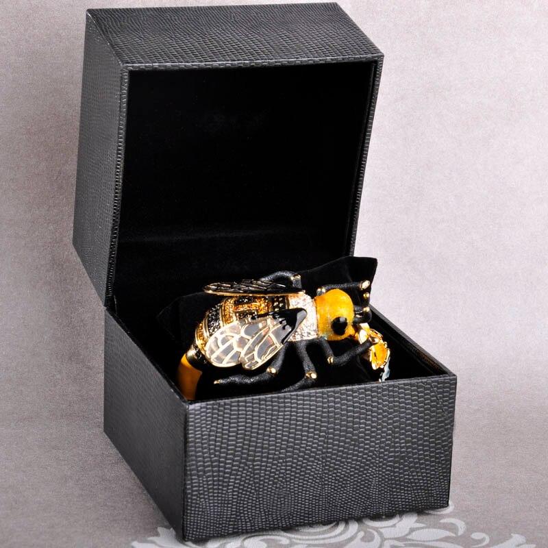 Bracelet de luxe en cuivre émail Esmalte abeille Bijoux Bracelet avec cristal couleur or mode Pulseira Feminina Homens Bijouterie - 2