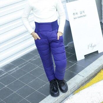 Nuevos pantalones de plumón para niños y niñas usan pantalones acolchados de cintura alta para esquí cálido para niños grandes moda Pantalones