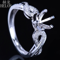 HELON 5 75 6 75mm Round Cut Solid 14k White Gold Fine Diamonds Semi Mount Ring