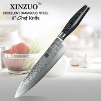 XINZUO HIGH QUALITY 8 Inch Chef Knife Chinese Best Damascus Kitchen Knife Woman Chef Knife With