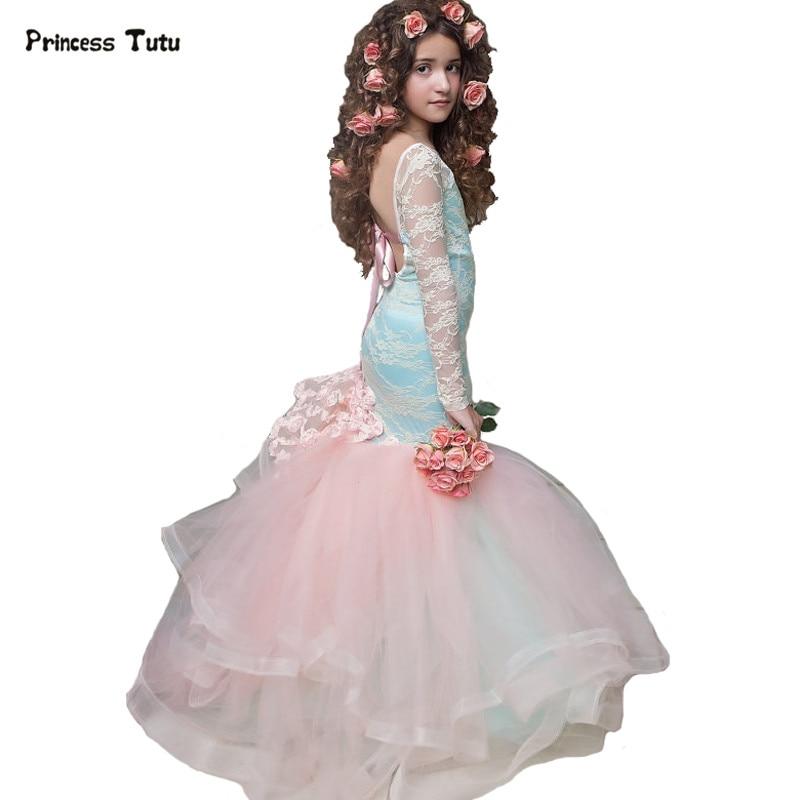 Custom Backless Mermaid Lace Girls Formal Dress Light Blue ...