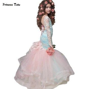 6f3c56077 Custom backless sirena Encaje Niñas vestido formal luz azul princesa vestido  niños Vestidos de flores de niña para el vestido de bola del desfile de la  boda