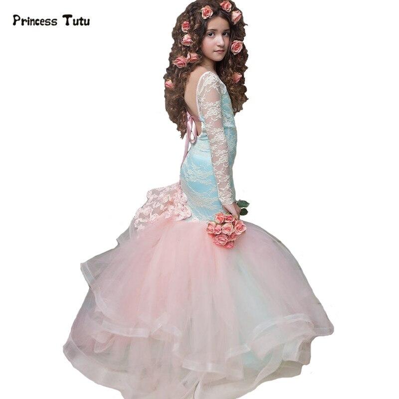 Robe de mariée en dentelle sirène dos nu pour filles robe de princesse bleu clair robes de demoiselle d'honneur pour robe de bal de mariage