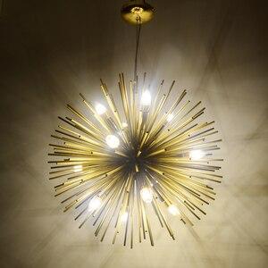 Image 2 - Dandelion Hedgehog Chandelier Aluminum Tube Spark Ball Creative Lamp Golden American Post modern Simple Restaurant Chandelier