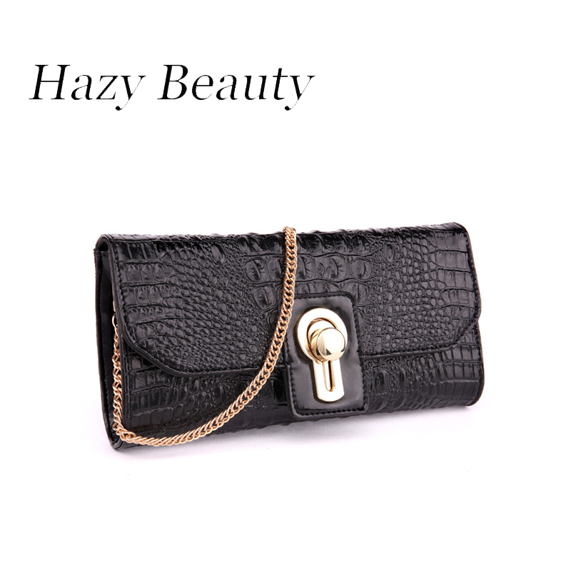 Hazy beauty genuine leather crocodile soft women evening chic lady cross body chain shoulder bag girls messenger party bag A412