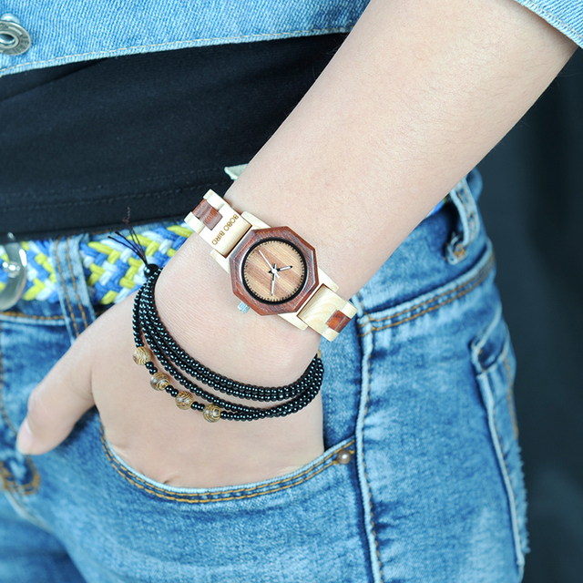 BOBO BIRD Wooden Handmade Women Quartz Watch with Gift Box
