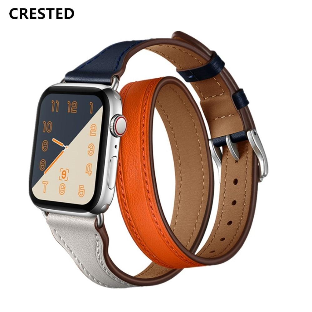CRESTED Echtem Leder Strap Für Apple Uhr 4 Band 42mm 44mm Iwatch band 38mm 40mm Doppel tour Handgelenk Armband gürtel serie 2 1