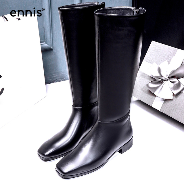Ennis 2018 Winter Boots Genuine Leather Knee High Boots Square Toe