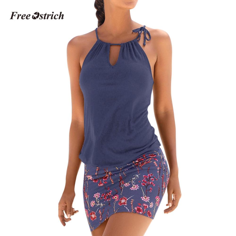 0bf7378df1f Free Ostrich Clothes Dress Fashion Womens Casual Sleeveless Retro Print  Beach Mini Dress Beach Dress chiffon
