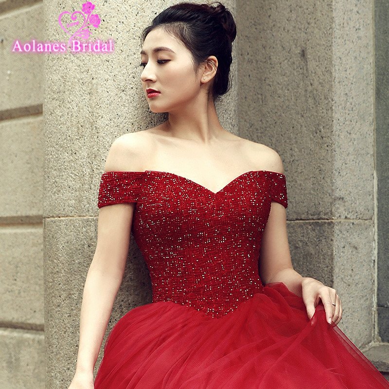 Long Prom Dresses 2018 Gorgeous Ball Gown Off The Shoulder Sweetheart Shiny Fabric Tulle Floor Length African Red Prom Dress