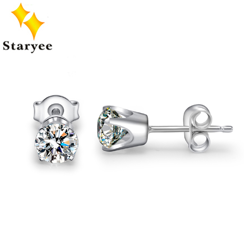 Certified 1 Carat Real 18K White Gold Moissanite Lab Diamond Engaged Anniversary Stud Earrings For Women Round Brilliant VVS G H transgems 1 carat lab grown moissanite diamond solitaire wedding band for man brilliant solid 18k two tone gold gentle dcc031