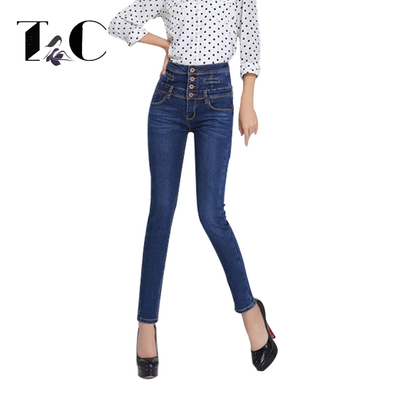 цены  TC Womens Jeans Inflated Waist Autumn Winter 2016 Female Denim Strech Blue Black High Waist Single Breasted Pencil Pants PT00254