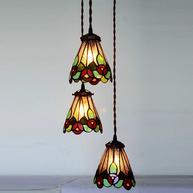 Post Modern Stained Gl Leaf Small Led Hanging Pendant Lamp Light Long Cord Home Deco Bar Restaurant Cafe Tabletop Lighting
