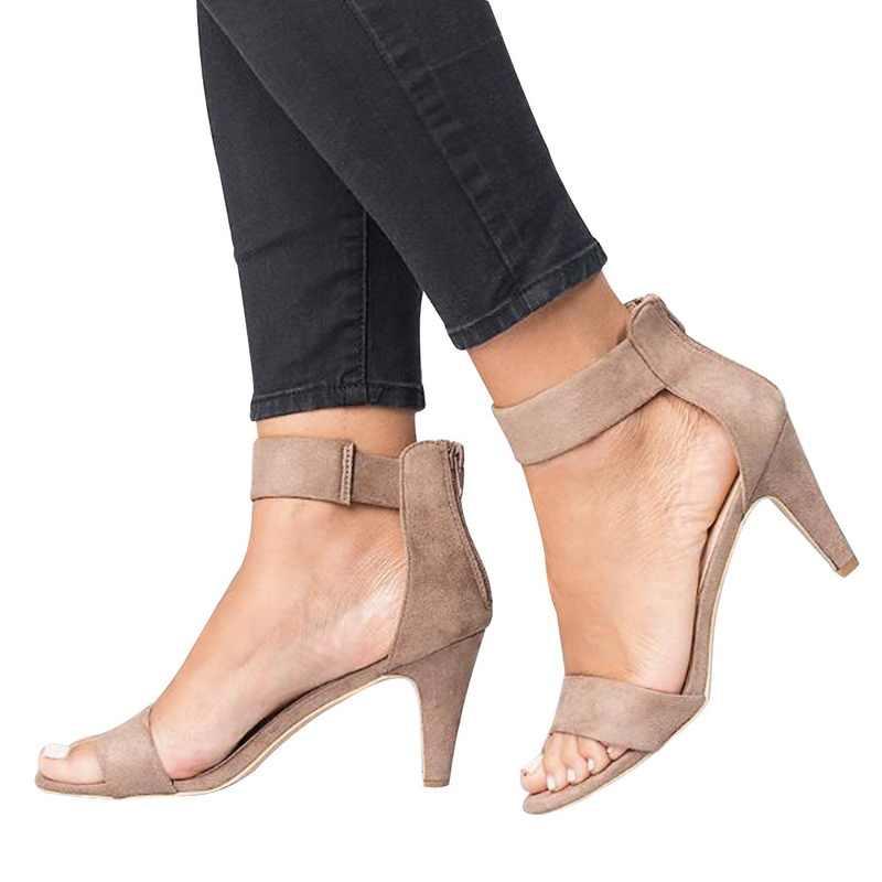MoneRffi Nữ Thời Trang Giày Sandal Cao Gót Hở Mũi Giày Dây Đeo Mắt Cá Chân Đế Gót Khóa Kéo Dép Chắc Chắn ĐẦM CƯỚI Giày Mùa Hè