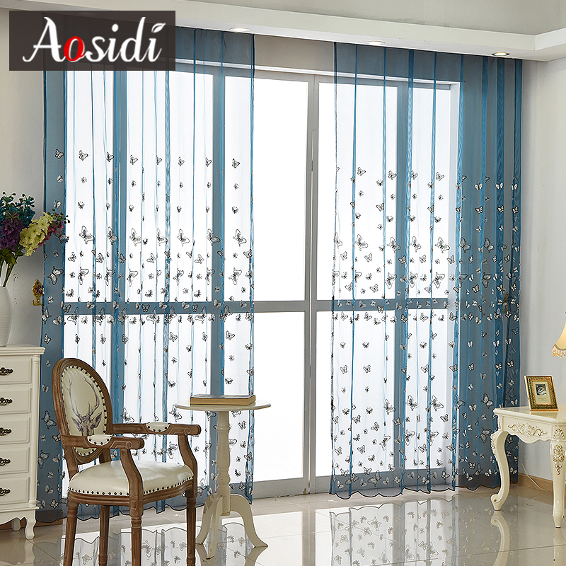 Tul de bordado de mariposa blanca para la sala de estar azul cortinas - Textiles para el hogar