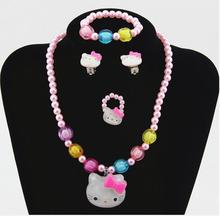 1set Lovely Baby Girls Imitation Pearls Hello Kitty cat Pendant Necklace Bracelet Ring Set Children Kids Jewelry sets Xmas Gifts