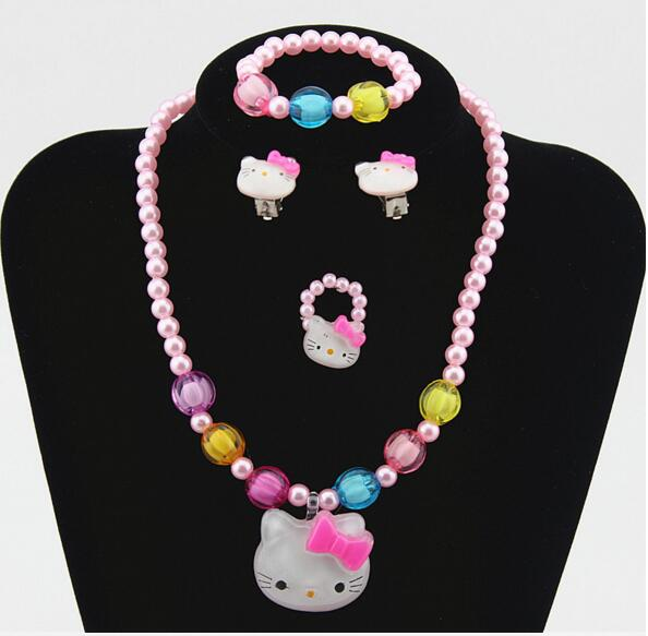 1set Lovely Baby Girls Imitation Pearls Hello Kitty cat Pends
