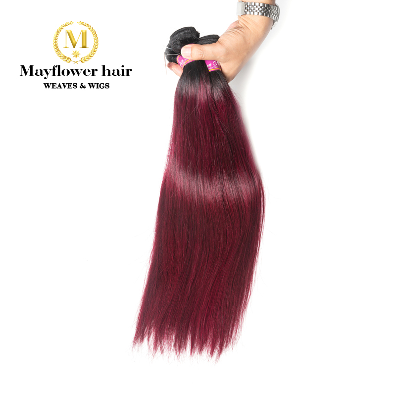Mayflower Ombre 1B/99J Malaysian Straight Virgin Hair No Tangle 1/2/3/4 Bundles From 12