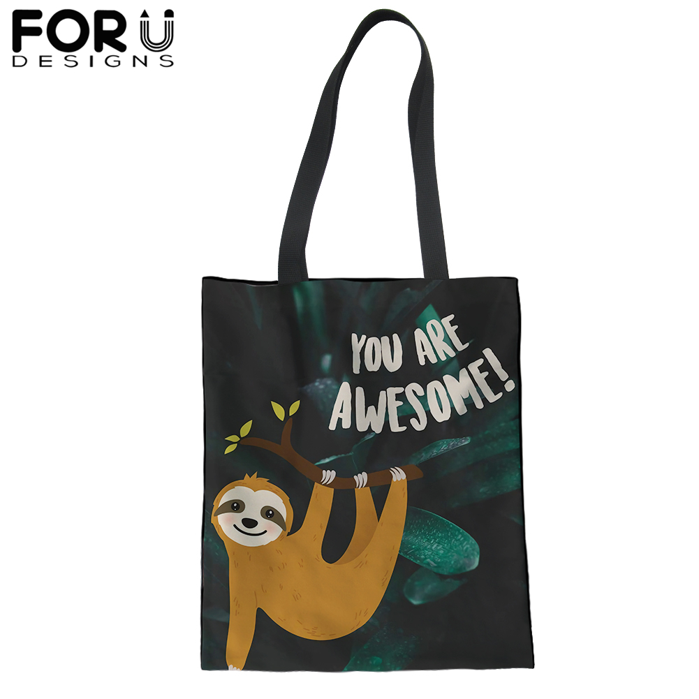 Cartoon Sloth Shopping Tote Bag for Women Canvas Portable Grocery Handbag Kawaii Animal Shoulder Bags