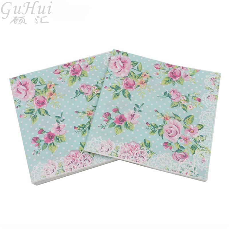 100 Stks Elegantie Roze Rose Bloem Afdrukken Wit Dot Wegwerp Papier Servetten Verjaardag Baby Show Wedding Party Diner Tafel Decor