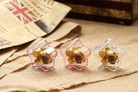 1 STÜCK Gold Acryl Herz Form Spieluhr mit Muster auf Top 18 Notizen Bewegung Windup Spieluhr Melody Schloss im Himmel KN 004