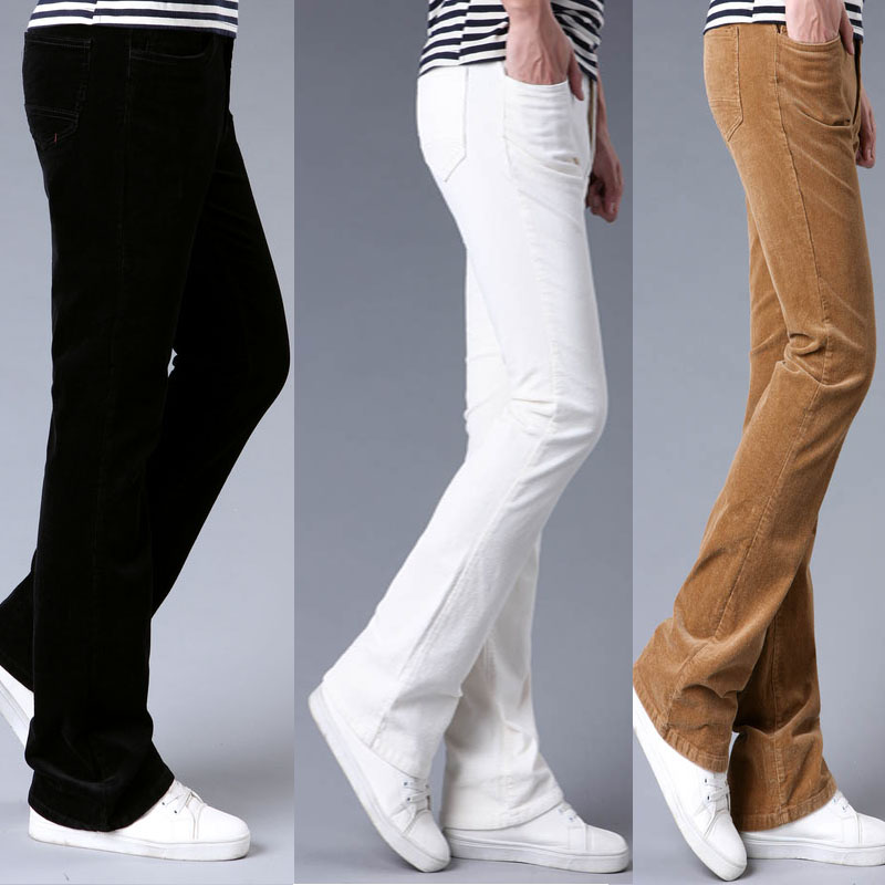 Spring Autumn Mens Flared Trousers Corduroy Boot Cut Trousers Bell Bottom Pants Men Pantalon Homme Black White Red Khaki Purple