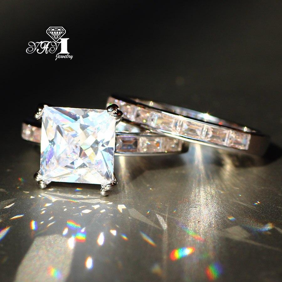 2 Stks Yayi Sieraden Mode Prinses Cut 4.6 Ct Wit Zirkoon Zilveren Kleur Verlovingsringen Trouwringen Partij Ringen